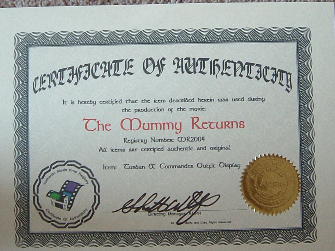 Letters Of Authenticity Certification